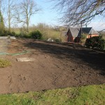 Lawn is removed and area levelled and compacted.